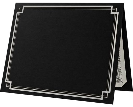 9 1/2 x 12 Certificate Holders Deep Black Linen - Silver Foil Square Border