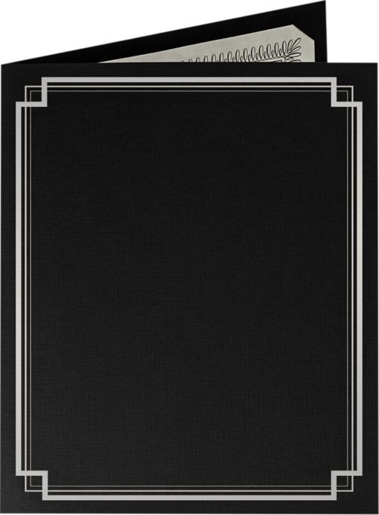 9 1/2 x 12 Certificate Holders Black Linen - Silver Foil Square Border
