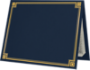 9 1/2 x 12 Certificate Holders Nautical Blue Linen w/ Gold Foil