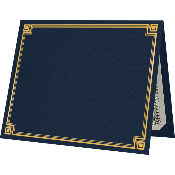9 1/2 x 12 Certificate Holders Nautical Blue Linen w/ Gold Foil