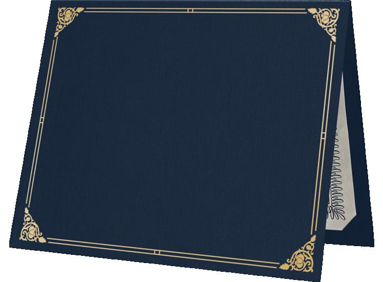 9 1/2 x 12 Certificate Holders Dark Blue Linen - Gold Foil Floral Border