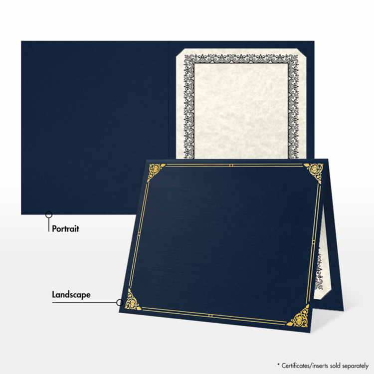 9 1/2 x 12 Certificate Holders Nautical Blue Linen - Gold Foil Floral Border