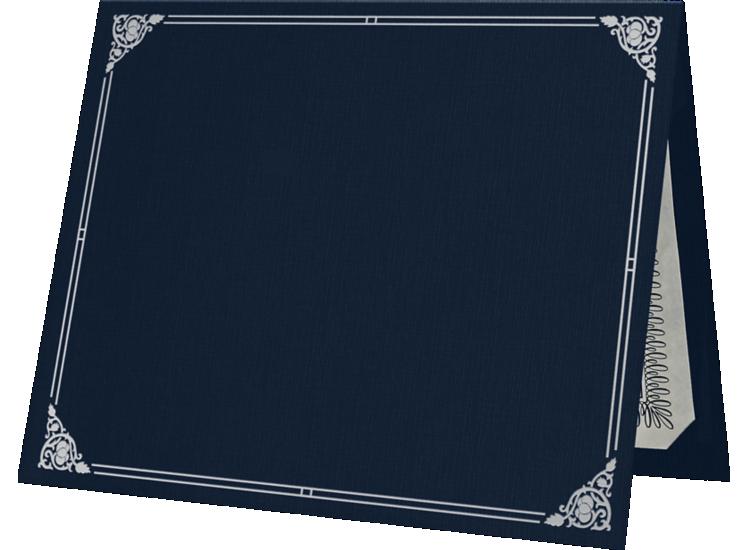 9 1/2 x 12 Certificate Holders Dark Blue Linen - Silver Foil Floral Border