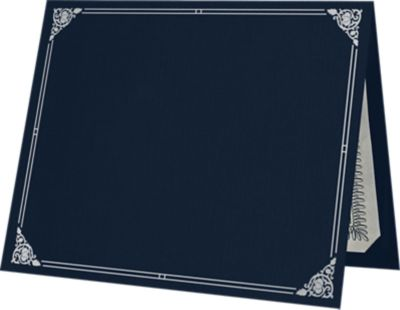 9 1/2 x 12 Certificate Holders Nautical Blue Linen - Silver Foil Floral Border
