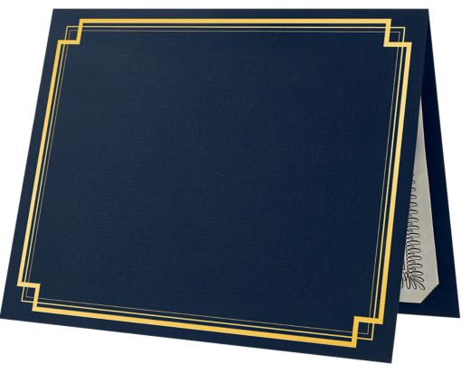 9 1/2 x 12 Certificate Holders Dark Blue Linen - Gold Foil Square Border