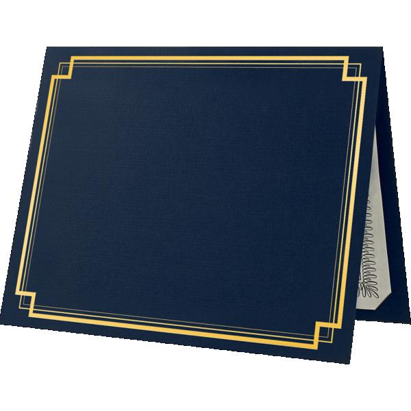9 1/2 x 12 Certificate Holders Dark Blue Linen - Gold Foil Square Border