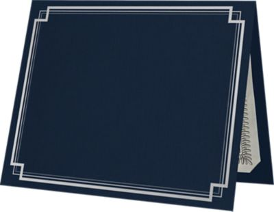 9 1/2 x 12 Certificate Holders Dark Blue Linen - Silver Foil Square Border
