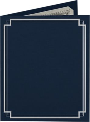 9 1/2 x 12 Certificate Holders Dark Blue Linen - Silver Foil Square Border
