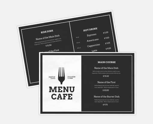 5 1/2 x 8 1/2 Horizontal 2 Sided Disposable Menu - White Gloss 100lb. Cover White Gloss (2 Sided)