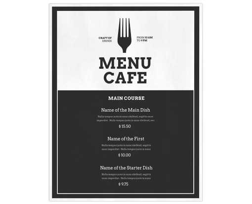 8 1/2 x 11 1 Sided Disposable Menu - White Gloss 100lb. Paper White Gloss (1 Sided)