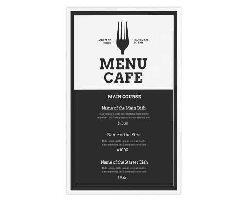 8 1/2 x 14 1 Sided Disposable Menu - White Gloss 100lb. Paper White Gloss (1 Sided)