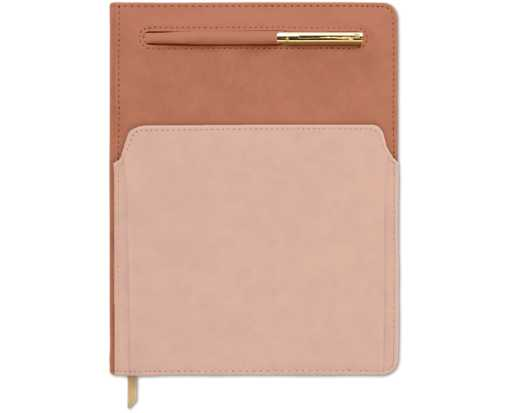 Two-Toned 7 x 10 Vegan Leather Planner w/Pen & Pocket - Terracotta/Blush Terracotta/Blush