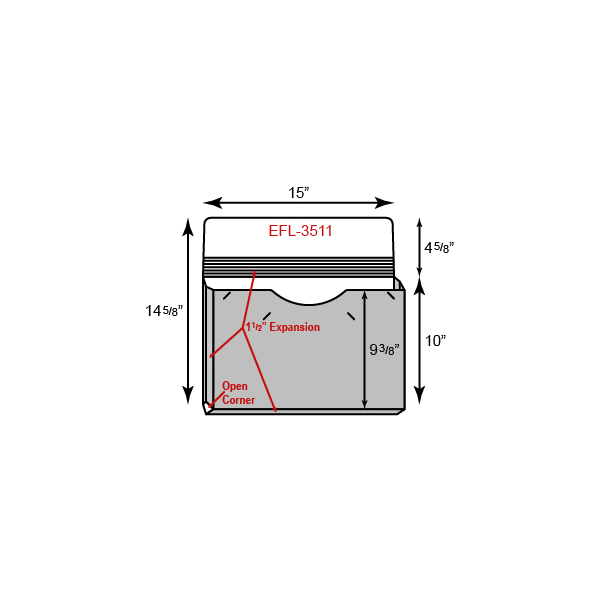 "Legal Size Portfolio - One Pocket w/ 1.5"" Unsealed Gusset  (15"" x 10"")"