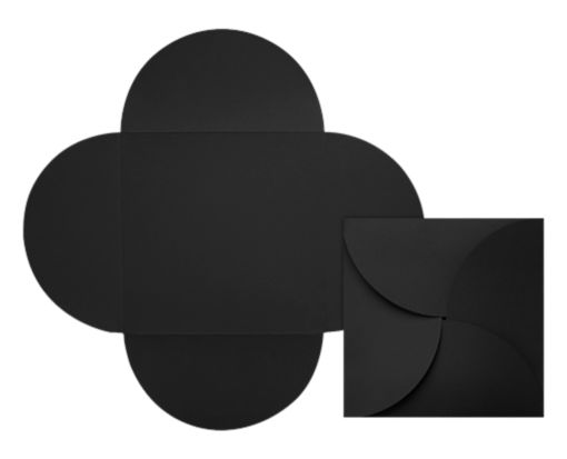 6 1/4 x 6 1/4 Petal Invitations Midnight Black