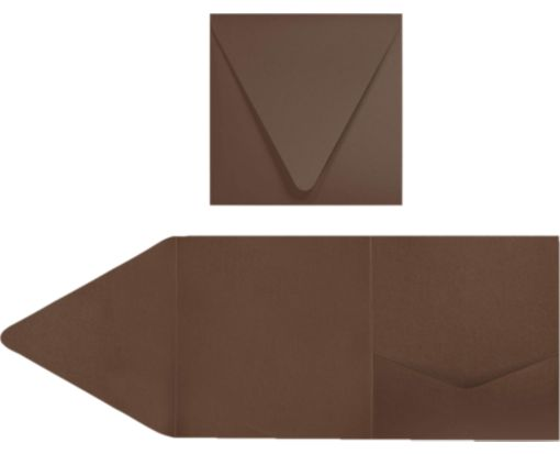 6 x 6 Pocket Invitations Chocolate