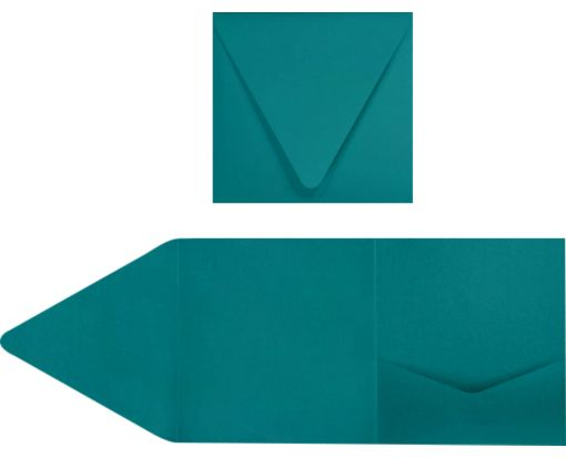 6 x 6 Pocket Invitations Teal