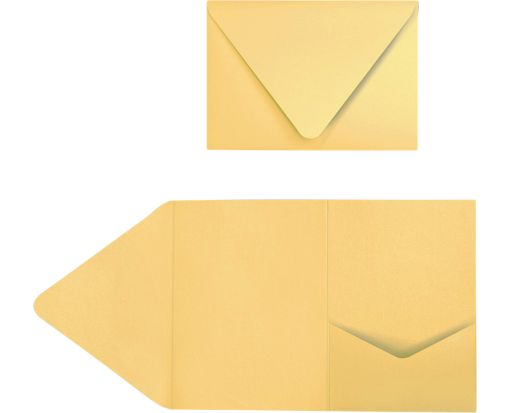 A7 Pocket Invitations (5 x 7) Gold Metallic