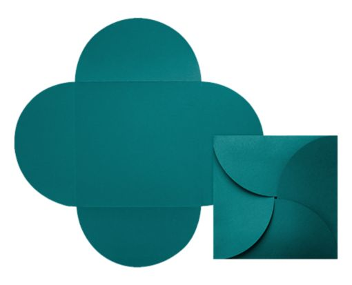 6 1/4 x 6 1/4 Petal Invitations Teal