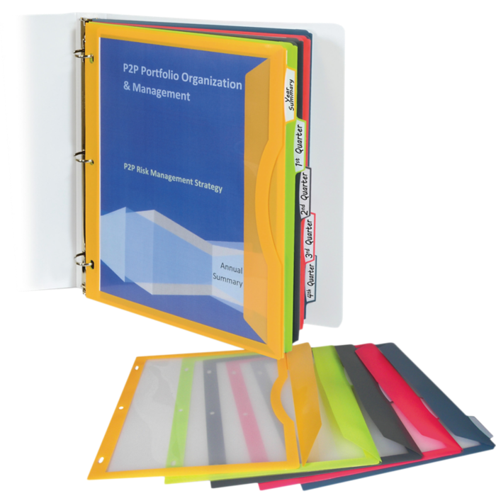 Binder Pockets with Write-On Index Tabs - Set of 5 Assorted