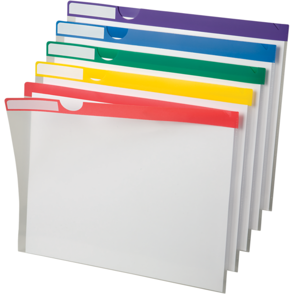 Poly Index Folders Clear w/ Assorted Strips