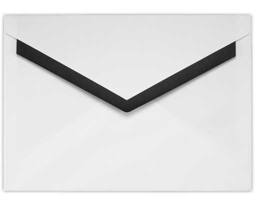 5 7/8 X 8 1/4 Foil Lined Contour Flap Envelope  White w/Black Lining