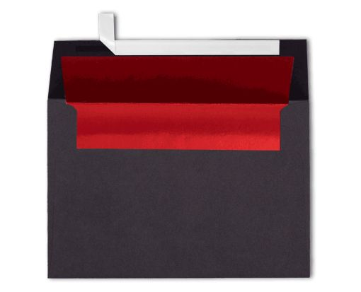 A4 Invitation Lined Envelopes (4 1/4 x 6 1/4) Black w/Red LUX Lining
