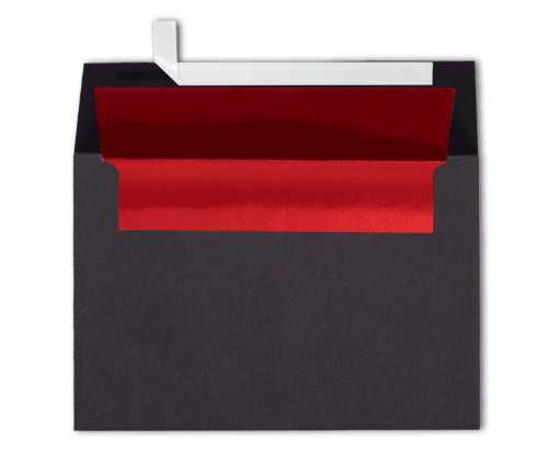 A4 Foil Lined Invitation Envelopes (4 1/4 x 6 1/4) Black w/Red LUX Lining