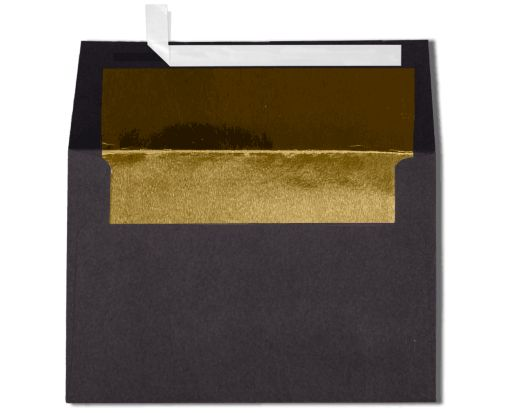 A4 Invitation Lined Envelopes (4 1/4 x 6 1/4) Black w/Gold LUX Lining