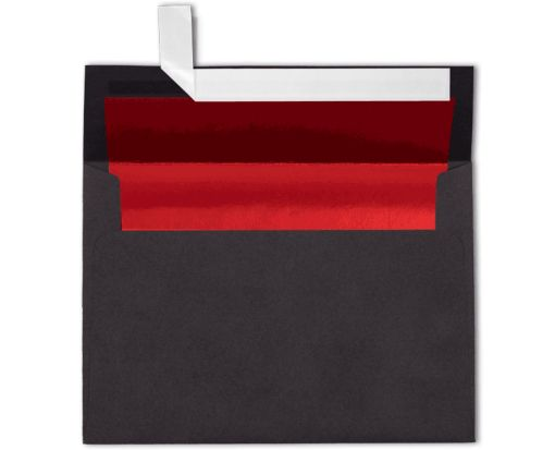A7 Foil Lined Invitation Envelopes (5 1/4 x 7 1/4) Black w/Red LUX Lining