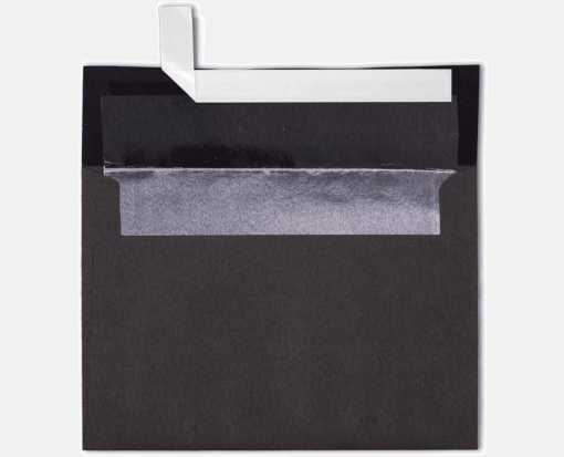 A7 Foil Lined Invitation Envelopes (5 1/4 x 7 1/4) Black w/Silver LUX Lining