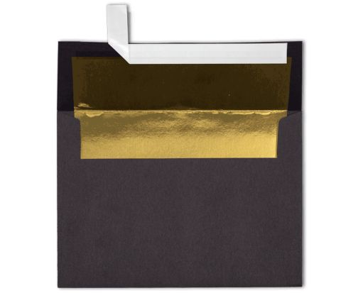 A7 Foil Lined Invitation Envelopes (5 1/4 x 7 1/4) Black w/Gold LUX Lining