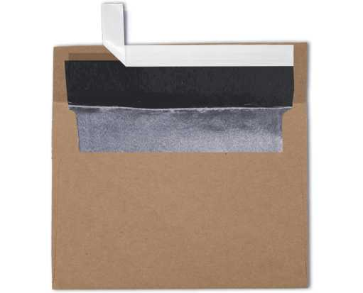 A7 Foil Lined Invitation Envelopes (5 1/4 x 7 1/4) Grocery Bag w/Silver LUX Lining