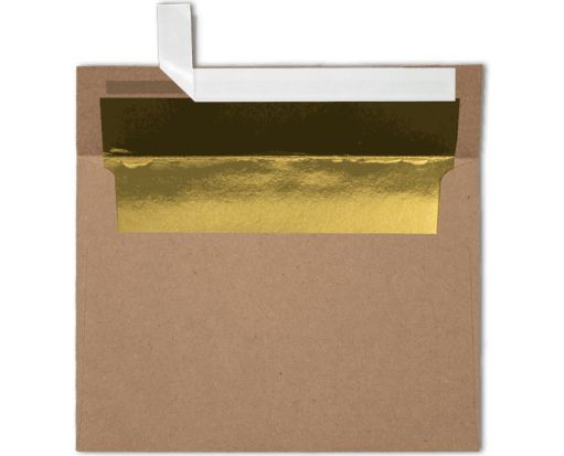 A7 Foil Lined Invitation Envelopes (5 1/4 x 7 1/4) Grocery Bag w/Gold LUX Lining