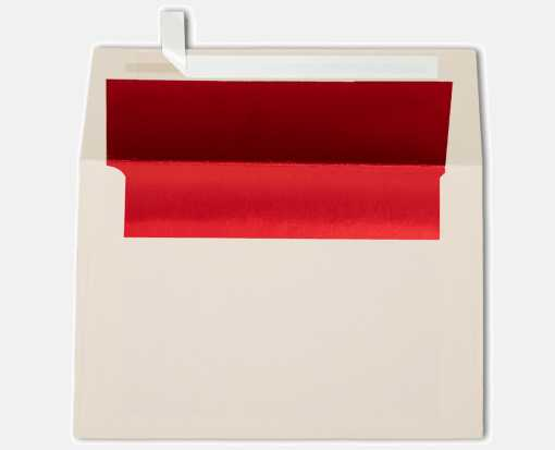 A4 Foil Lined Invitation Envelopes (4 1/4 x 6 1/4) Natural w/Red LUX Lining