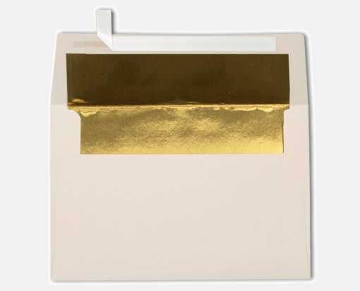 A4 Foil Lined Invitation Envelopes (4 1/4 x 6 1/4) Natural w/Gold LUX Lining
