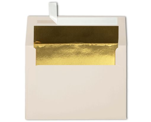 A6 Foil Lined Invitation Envelopes (4 3/4 x 6 1/2) Natural w/Gold LUX Lining