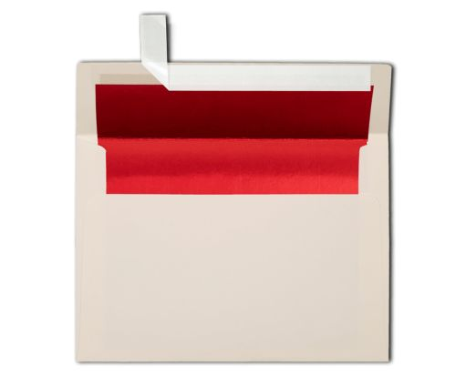 A7 Invitation Lined Envelopes (5 1/4 x 7 1/4) Natural w/Red LUX Lining