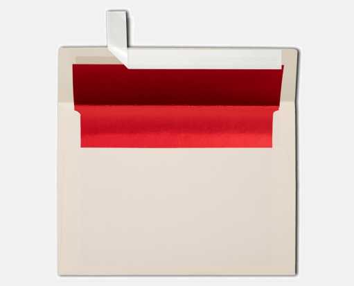 A7 Foil Lined Invitation Envelopes (5 1/4 x 7 1/4) Natural w/Red LUX Lining