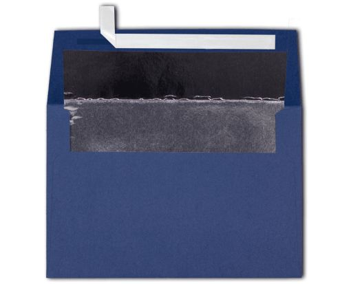 A4 Foil Lined Invitation Envelopes (4 1/4 x 6 1/4) Navy w/Silver LUX Lining