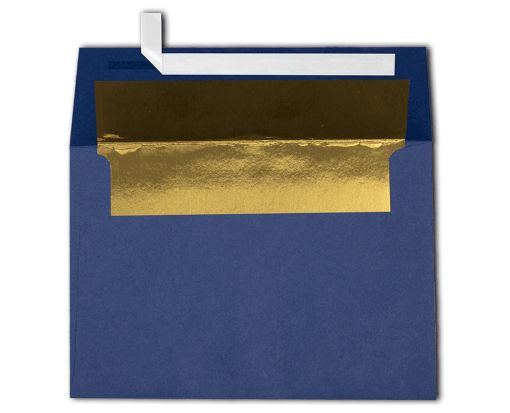 A4 Invitation Lined Envelopes (4 1/4 x 6 1/4) Navy w/Gold LUX Lining