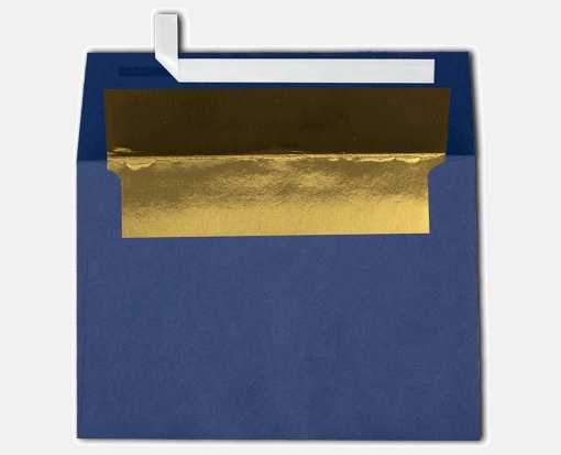 A4 Foil Lined Invitation Envelopes (4 1/4 x 6 1/4) Navy w/Gold LUX Lining