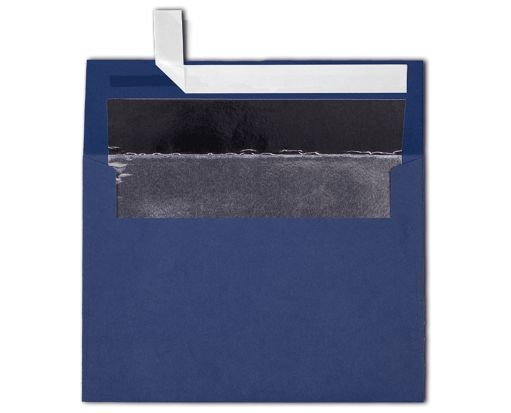 A7 Foil Lined Invitation Envelopes (5 1/4 x 7 1/4) Navy w/Silver LUX Lining