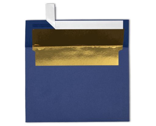 A7 Foil Lined Invitation Envelopes (5 1/4 x 7 1/4) Navy w/Gold LUX Lining