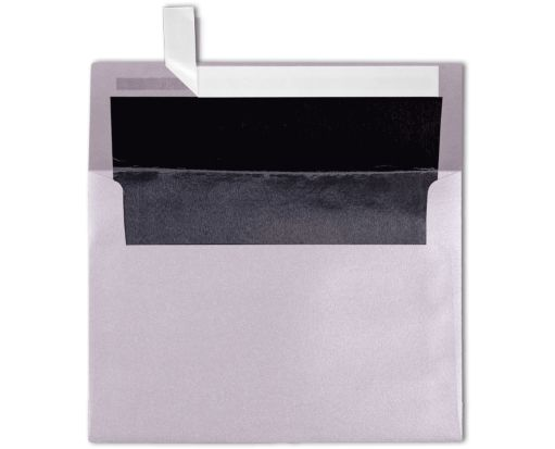 A7 Foil Lined Invitation Envelopes (5 1/4 x 7 1/4) Silver w/Black LUX Lining