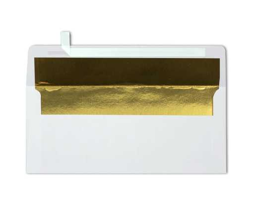 #10 Foil Lined Square Flap Envelopes (4 1/8 x 9 1/2) White w/Gold LUX Lining
