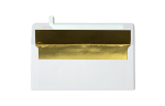 #10 Square Flap Lined Envelopes White w/Gold LUX Lining