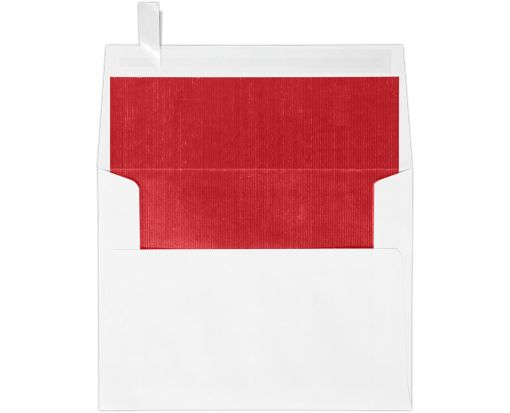 A2 Invitation Envelopes (4 3/8 x 5 3/4) White w/Red LUX Lining