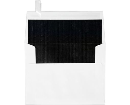A2 Invitation Envelopes (4 3/8 x 5 3/4) White w/Black LUX Lining