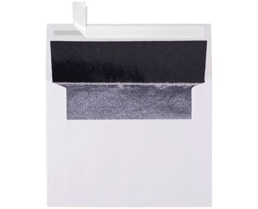 A2 Invitation Lined Envelopes (4 3/8 x 5 3/4) White w/Silver LUX Lining