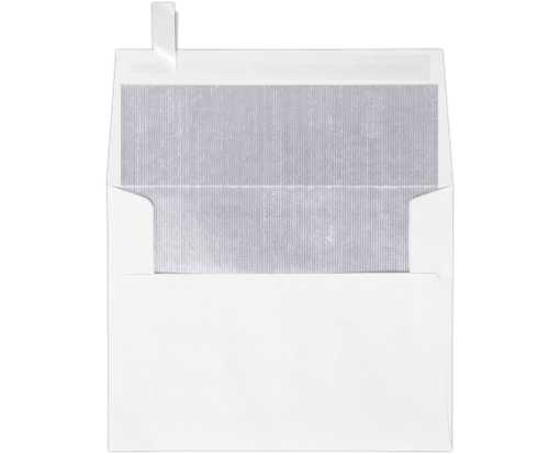 A2 Invitation Envelopes (4 3/8 x 5 3/4) White w/Silver LUX Lining